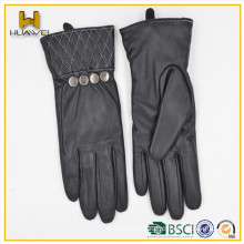 daily usage life Women goatskin leather gloves with fashion cuff