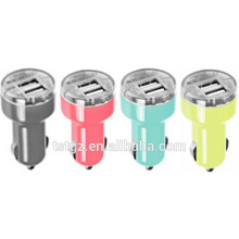 Colorful dual USB car charger compatible for smart phones