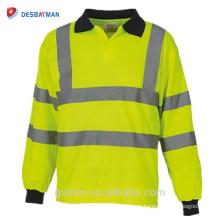 Gola Marinha Manga Longa Oi Vis Vis Vis Segurança de Alta Visibilidade Polo Camisas Reflexivas Desgaste do Trabalho Amarelo Laranja