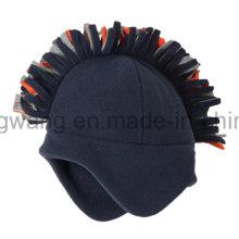 Chapeau / casquette en molleton polaire en tricot d'hiver avec boule à tricoter