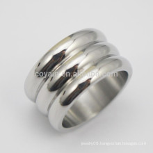 3 Circle Piled Up Stainless Steel Wide Finger Ring For Men