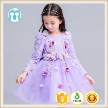 Laço de lavanda vestidos de festa de ano novo crianças roupas de festa de aniversário de manga cheia de natal à noite crianças meninas vestidos de flores