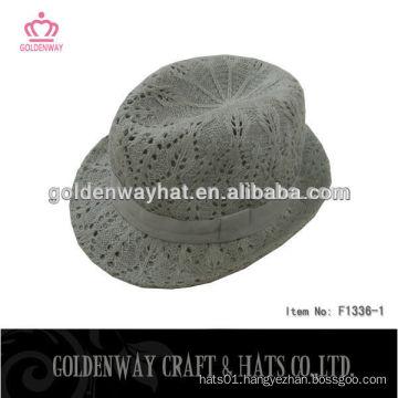 acrylic crochet fedora hats of short brim