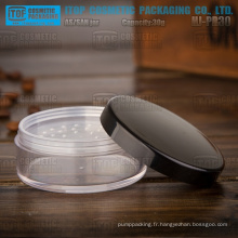 HJ-PR30 30g lisse et brillant finition corps de pot clair dur capuchon noir en plastique comme cosmétique jar