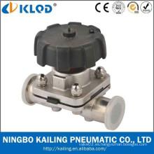 Válvulas de diafragma de acero inoxidable neumático de calidad sanitaria KLGMF-32M