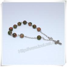 Catholic Rosary Stone Bead Rosary Bracelet, Religious Rosaries (IO-CB179)