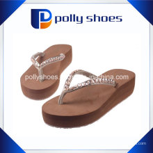 Damen Damen Keilabsatz Flip Flop Diamonte Sandale