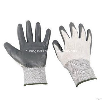Weiß Nylon Grau Nitril Handschuhe, Kaffee Seite, 38g, 23 Cm
