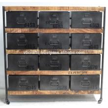 Gabinete de cajones industriales Vintage Metal de madera