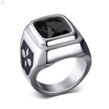 Jóia de prata preta de aço inoxidável por atacado do anel de pedra