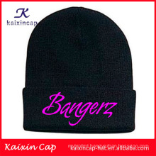 wholesale custom made high quality hot sale black warm beanie with custom embroidery logo