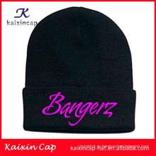 оптовая продажа на заказ высокого качества горячей продажи черная теплая шапочка с изготовленным на заказ логосом вышивки