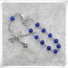 Blue Smooth Glass Beads Decade Rosary, Religious Rosary (IO-CE079)