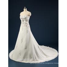 Elegante bordado A-Line Neckline sin tirantes y sin mangas de encaje vestido de boda AS436