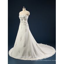Elegant Embroidered A-Line Strapless Neckline and Sleeveless Lace Wedding Dress AS436