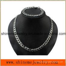 Shineme Jóias Colar Masculino Fluxo Diamante Aço Inoxidável Cadeia Espessa (SSNL2618)