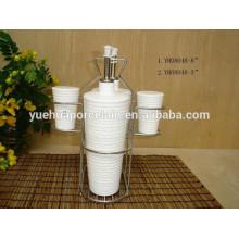 Conjunto de utensilios de cocina de cerámica aceite y vinagre botella y pimentero
