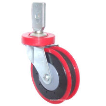 PU Shopping Trolley Caster (One Groove, Red)