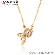 42069 gros bijoux de mode 18k beaux poissons pendentif en zircone cubique plaqué or bijoux collier