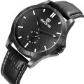 SKONE 9415 luxury black leather working subdial watches