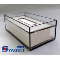 Caixa de dispensador de tecido acrílico claro para banheiro