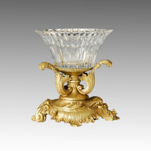Cristal Vase Statue Feuilles Pot Bronze Sculpture Tpgp-009