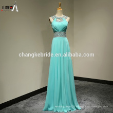 Wholesale Custom Made Long Chiffon Evening Dress Halter Sleeveless Beaded Stones Bridesmaid Dress