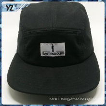 100% cotton flat square brim woven label black 5 panel caps