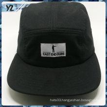 100% cotton flat square brim woven label black 5 panel caps