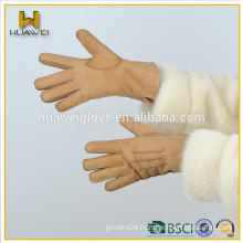 Fashion genuine sheepskin leather gloves women suede leather working gloves