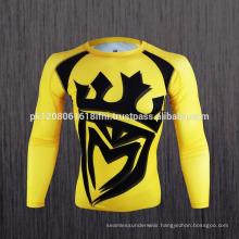 compression shirts yellow long sleeve rash guard