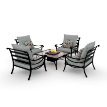 Outdoor/Balcony Slat Chat Furniture 5pc set with cushion and firebox