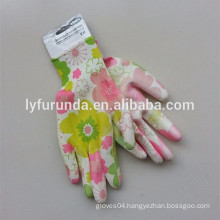 The clear nitrile coated lady garden working gloves