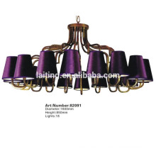 Italian Antique Gold Cast Iron Candle Purple Chandelier Lighting