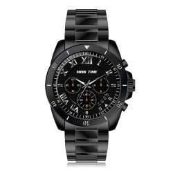 fashion hand chain own logo black leather band watch