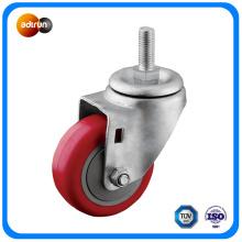 Roulette pivotante en rouleau en rouleau rouge avec roulement à billes