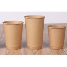 Origem Kraft Papel Revestimento Double Wall Descartável Quente Coffee Drinking Cup
