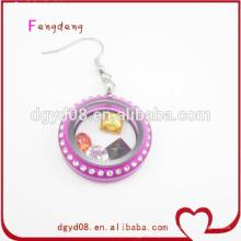 Fabricante de joyas de las mujeres de color púrpura acrílico especial pendiente