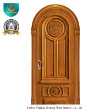 Porta de madeira maciça estilo europeu com escultura (ds-035)