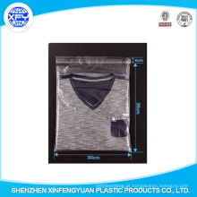 Plastic Resealable personalizado impresso saco claro para vestuário