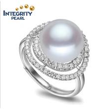100% reale Süßwasserperlen-Ring-einfacher Entwurfs-Perlen-Ring 9-10mm AAA-Knopf 925 Süßwasser-Perlen-Ring