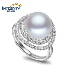 Anillo de perlas de agua dulce real de 100% Anillo simple de la perla del diseño 9-10m m AAA Botón 925 Anillo de la perla del agua dulce