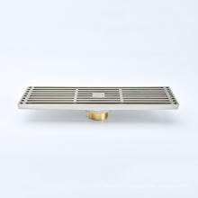 Adjustable Linear Drain Square Pattern Grate Brushed Leveling Feet Hair Strainer Shower liner Floor Drain