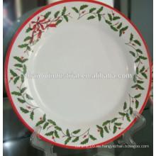 Plato de cerámica de porcelana blanca plato de Navidad conjunto