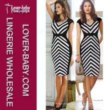 Fashion Striped MIDI Medium Length Sexy Lady Evening Dress (L36026-2)