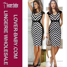 Moda Striped MIDI Longo Comprimento Sexy Lady Evening Dress (L36026-2)