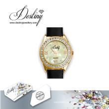 Destino joyería cristal de reloj de Swarovski cuero