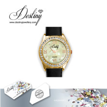 Destin bijoux cristal de Swarovski en cuir montre
