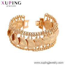 75192 Xuping nueva pulsera de oro diseña al por mayor brazaletes de bronce promocional pulsera de cadena