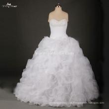 RSW734 Padrão Branco Ruffle Vestido de Noiva Sweetheart